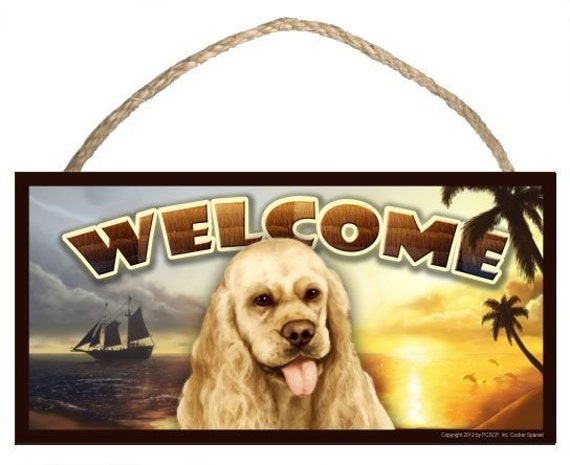 "Cocker Spaniel Summer Season 10"" x 5"" Wooden Welcome Sign"