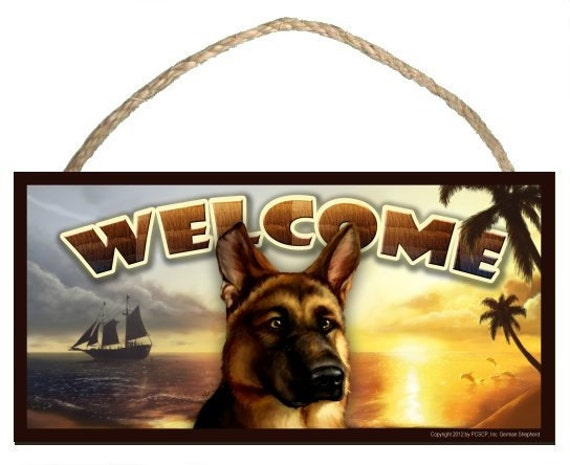 "German Shepherd Summer Season 10"" x 5"" Wooden Welcome Sign"