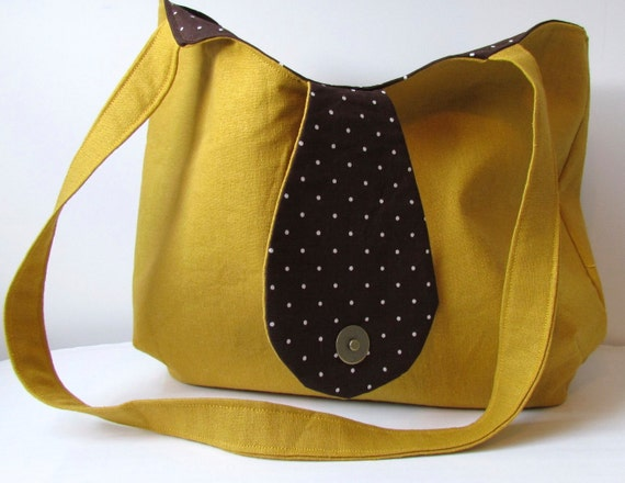 Honey Linen and Brown Polka Dot Lining Shoulder Bag