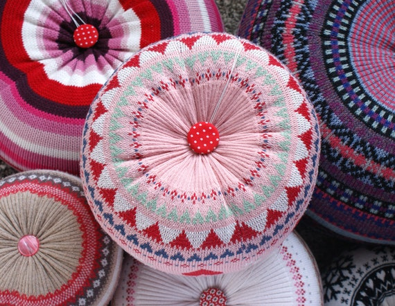 MEDIUM Upcycled Eco knit fairisle, cable floor cushion pouf hassock, pink red white love hearts