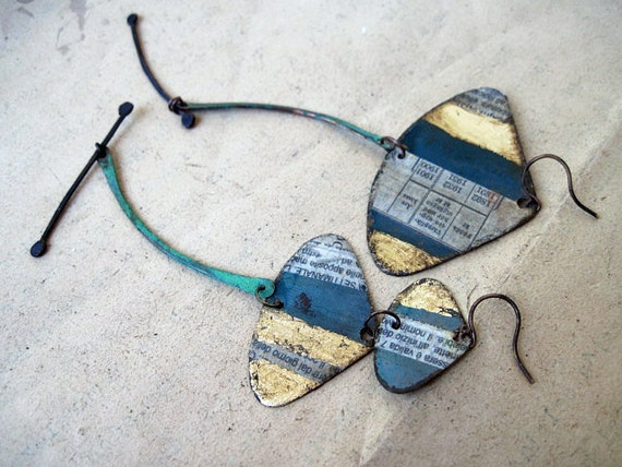 Pythagorean. Asymmetrical Assemblage Earrings with gold foil and decoupage.
