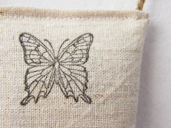 Natural Lavender Sachet - Hand Printed Butterfly