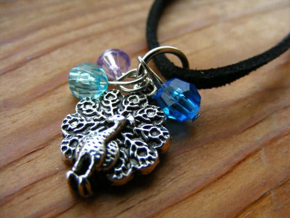 Long Necklace Peacock Charm
