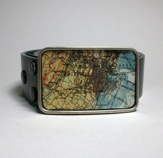 Belt Buckle Vintage Map Newark New Jersey