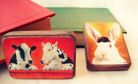 Martini коровы и кролика - магниты на холодильник Комплект из 2 - бесплатная доставка по всему миру