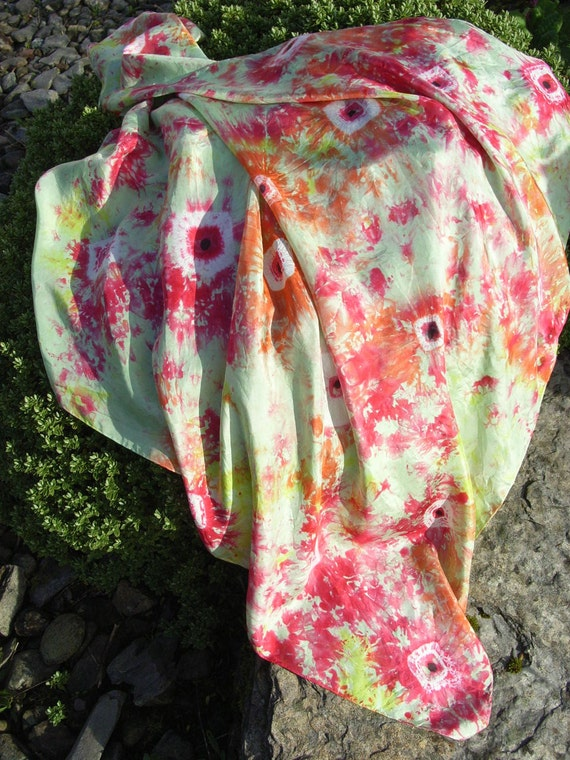 Shirley Poppies - Square Hand Painted Silk Scarf in Shades Of Spring Green, Carmine, Tangerine and Citron