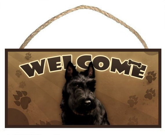 "Scottish Terrier (Scotty) 10"" x 5"" Wooden Welcome Sign"