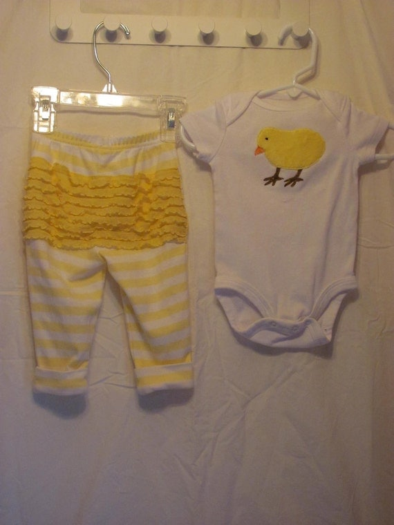 Baby chick onesie and pant outfit with ruffled bottom.  Perfect for a new baby or an Easter outfit. READY TO SHIP.