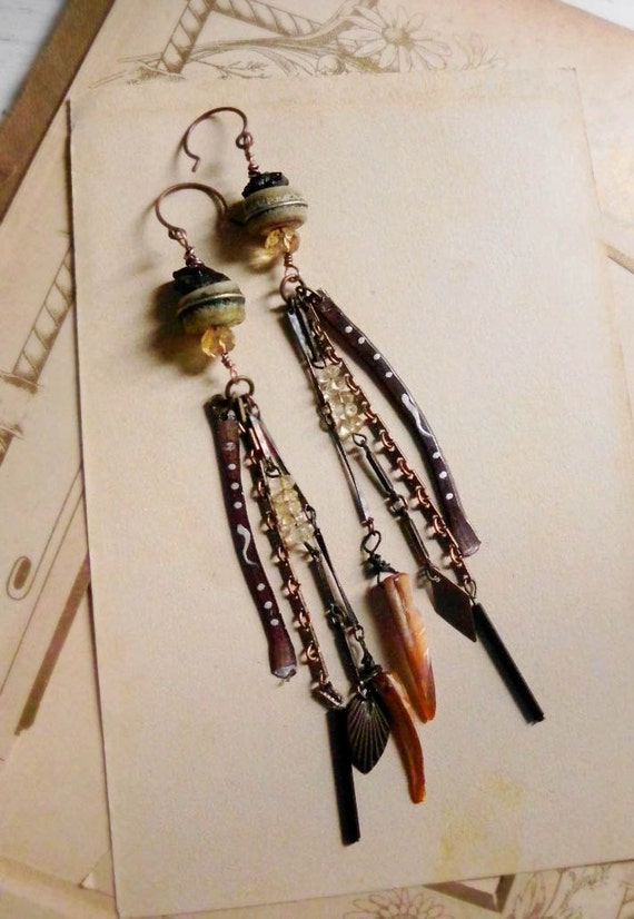 Swallowtail dancer. Tribal gypsy dangle earrings.