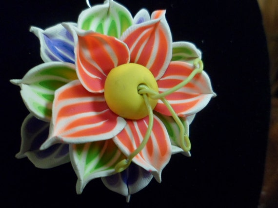 Tropical Flower Pendant: Polymer Clay