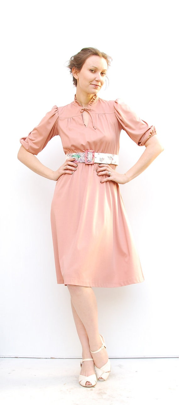 70s Secretary Dress - Office Fashion - Spring Fashion - Mauve Dress - Dusty Rose Dress - Tea Rose Dress - 2 4 XS S