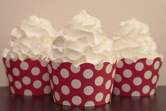 Hot Pink and White Polka Dot Cupcake Wrappers