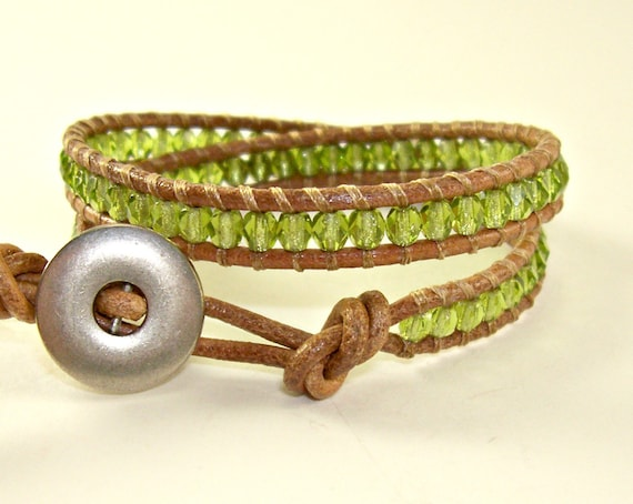 Olive Beaded Leather Wrap Bracelet - Silver-Lined Olivine Czech Glass on Tan Leather
