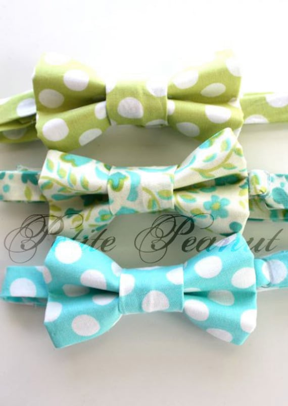 Little Guy SPRING EASTER Bow tie - Aqua and Green Collection - (Newborn - 10 years) - Baby Boy Toddler - Custom Order - Wedding - Photo Prop