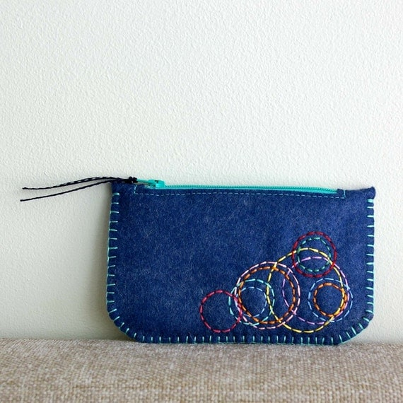 SALE Colorful Circles: Hand Embroidered Wool Felt Coin Purse by LoftFullOfGoodies (Ready to Ship)