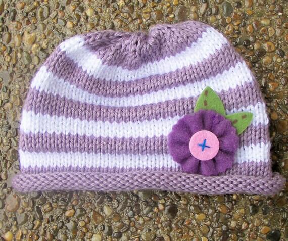 Knitty گل باشید کلاه بنفش راه راه --- بزرگ برای عکاسان، عکس برای سرپا نگه داشتن نوزادان / نوزاد / دختر