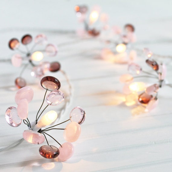 Glass Fairy Lights - pink glass, small