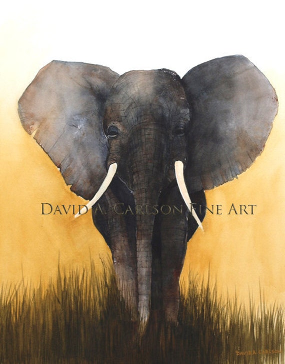 Elephant, Painting of Elephants, Watercolor Painting, Wildlife Painting, Elephant Art, Africa