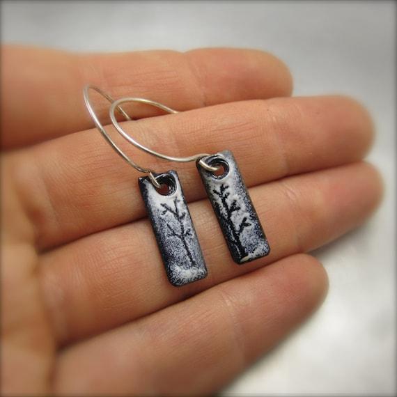 Enameled Little Long Tree Earrings by Beth Millner