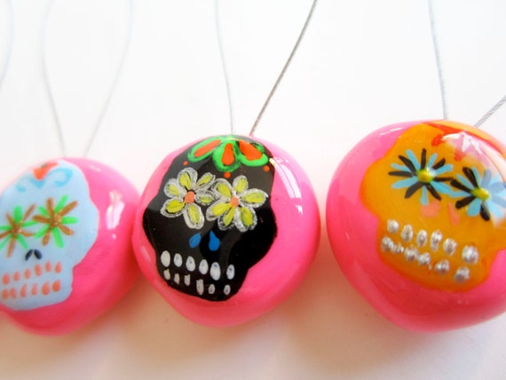 Snag Free Stitch Markers - Set of 4 Hand-Painted Sugar Skulls (dia de los muertos, day of the dead)