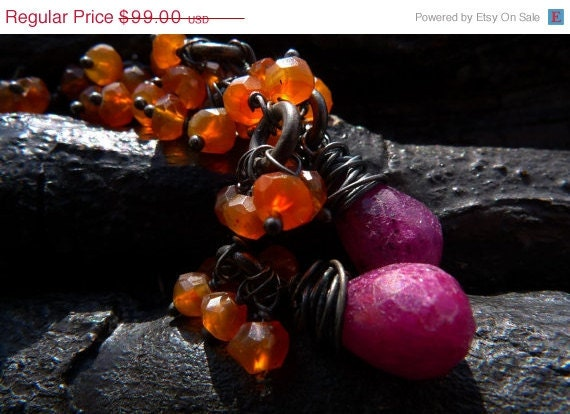 40 OFF SALE ruby carnelian earrings by Beijo Flor by BeijoFlor from etsy.com