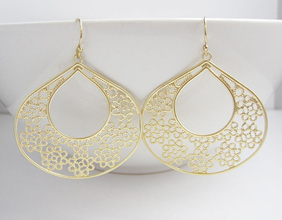 Large Gold Chandelier Earrings -  Filigree - Teardrop - Keyhole