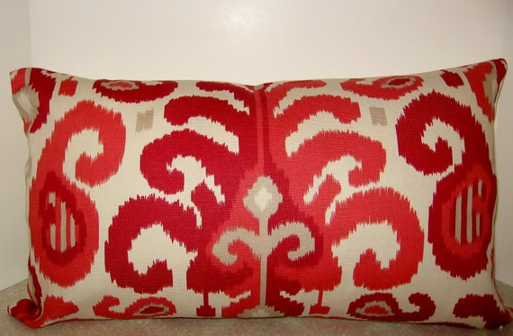 24 x 14 lumbar Modern Ikat pillow cover red coral tan rasul berry
