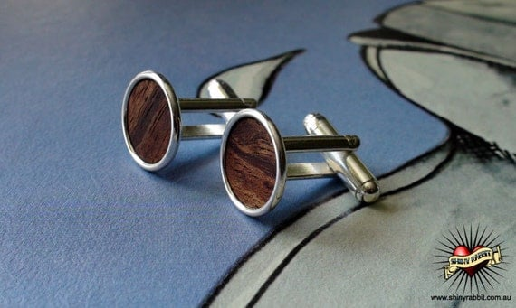 Australian Rivergum Wood Inset Cuff Links