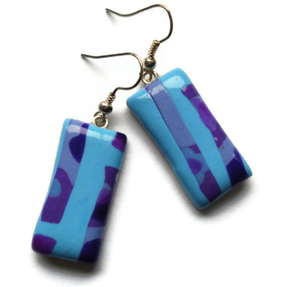 Oblong Drop Earrings  Turquoise and Purple by KireinaJewellery |  Craft Juice :  handmade kawaii jewellery jewelry