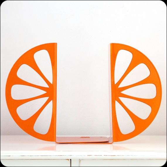 Bookends - Orange - laser cut for precision these metal bookends will hold your favorite cookbooks or books