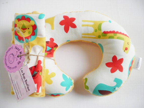 Mighty Jungle Baby Toddler Childrens Neck Travel Pillow with Matching Car Seat Strap Covers