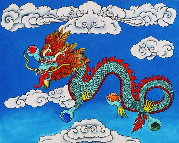 Dragon, 2012, original painting, Tibetan, year of the Dragon, Buddhist, oriental