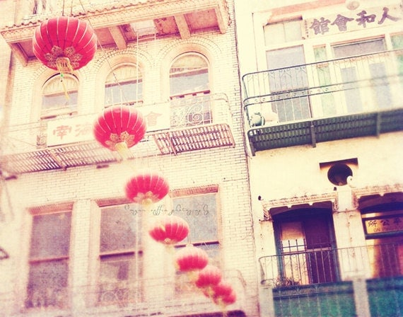 "San Francisco photo. red chinese paper lanterns, Chinatown photography, ""ni hao"" asian decor, orange yellow romantic travel buildings"
