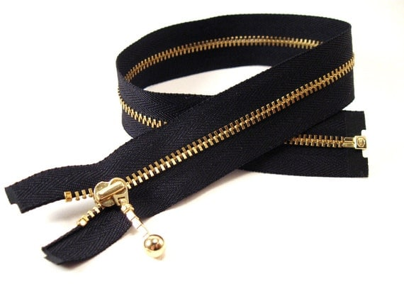 16 inch black and gold metal separating zipper YKK with zipper pull - 1 pcs