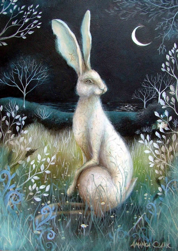 A fairytale  art print titled . Hare by Night.