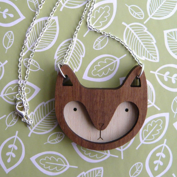 Walnut Wooden Fox Necklace