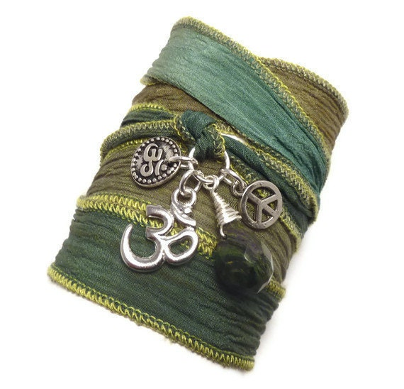 Silk Wrap Bracelet with Om Charms, Peace Sign, and Jade, yoga jewelry, wrapped wrapping bracelet, wrap around,wrist wrap