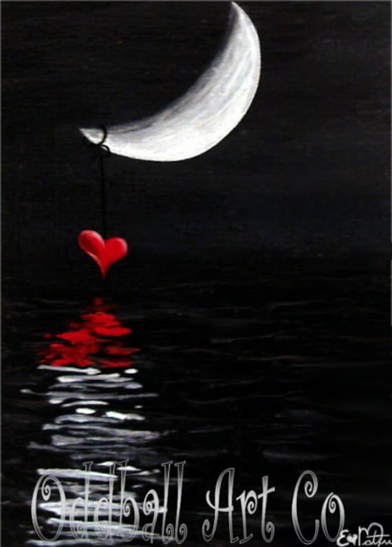 4 x 6 Love Story Heart Water Reflection Moonlight Twilight Fantasy Dark Art Archival Reproduction Print EAWT