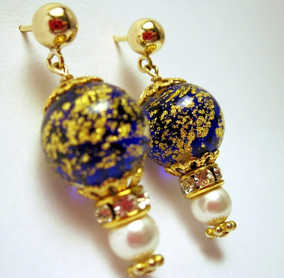 Hand Crafted Ca dOro Murano Blue Drop Earrings