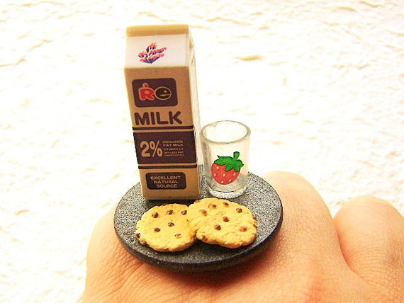 Kawaii Food Ring Cookies Chocolate Milk
