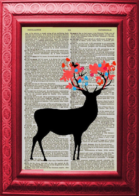 Woodland Deer Vintage Dictionary Page Spring Has Arrived