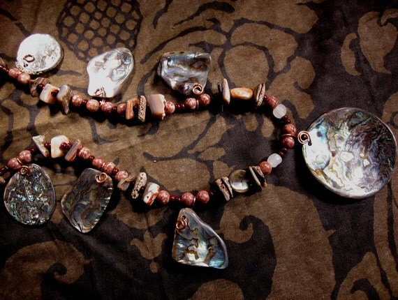 Art to wear long Primitive  tribal ethnic Abalone nugget  original one of a kind necklace