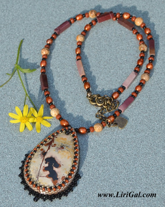 Wild Nature beaded cabochon pendant
