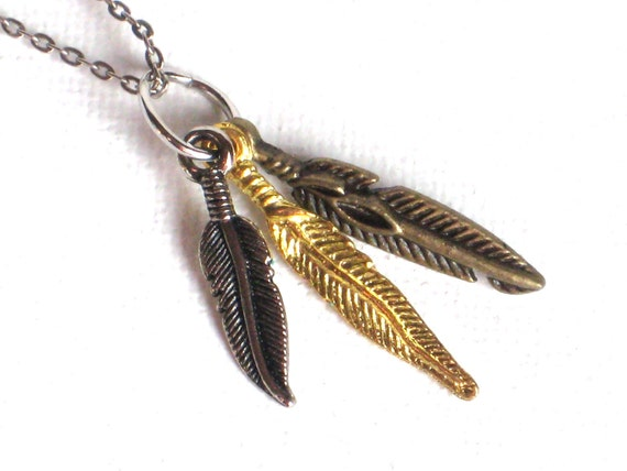 Triple Feather Necklace in Mixed Metals on Vintage Chain, Silver, Gold, Brass, Pendant, Charm, Tiny