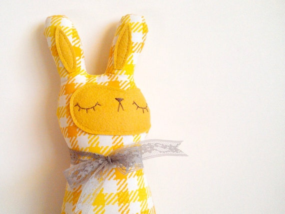 Gwendolyn Gingham - Woodland Spring Bunny - Ready to Ship
