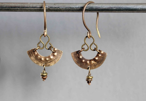 She was sleeping earrings hammered and aged brass