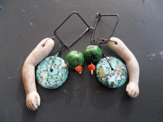 porcelain antique doll arm beauty bead earrings