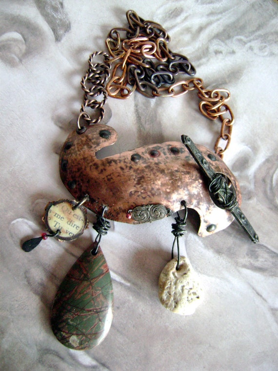 "Metal and Stone Assemblage necklace, ""The Wave"" by Anvil Artifacts"
