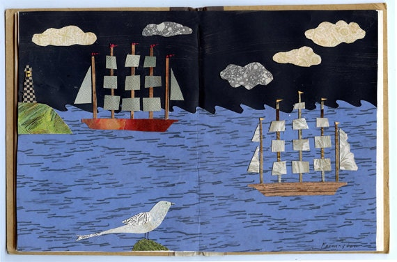 clipper ship original mixed media collage altered book
