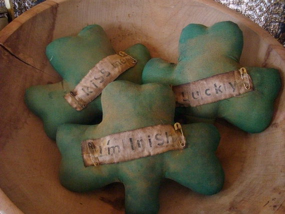 3 Primitive St Patricks Day Shamrock Bowl Fillers